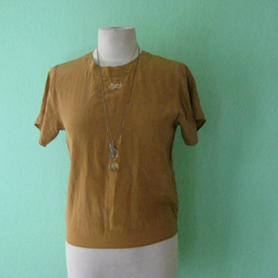 R E S E R V E D 80s blouse - silk yellow ochre vintage top - size small
