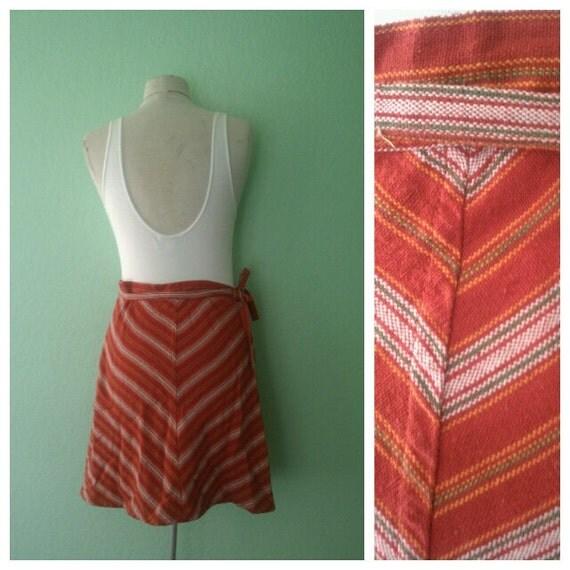EVERYTHING TEN SALE chevron striped wrap tie vintage guatemalan skirt s/m