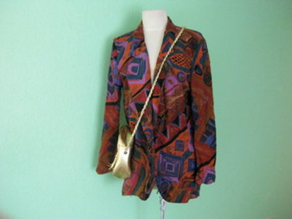 EVERYTHING TEN SALE abstract colorful 80s vintage blazer m/l