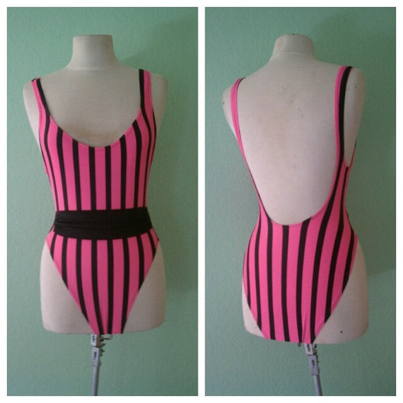 R E S E R V E D hot pink and black striped one piece vintage swimsuit small