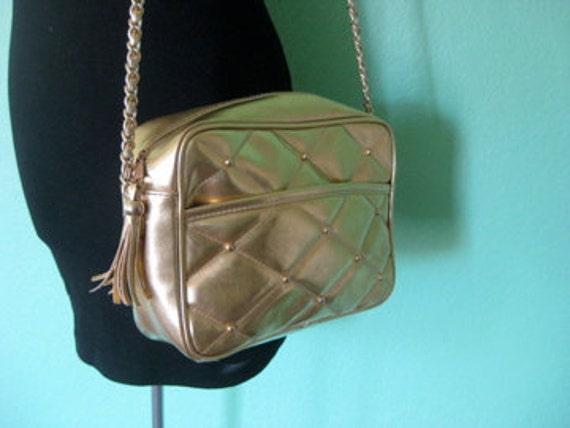 80s purse - gold vinyl quilted shoulder strap purse