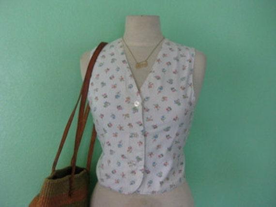 80s vest - feminine pin stripe vest - size small