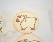 Baby Lamb Stickers Baby Shower Envelope Seals Vintage Ivory Boy or Girl Neutral Set of 12