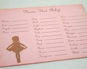 Name That Baby Animal Baby Shower Game Activity Cards Fill in the Blanks Vintage Pink Ballerina Set of 10