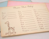 Name That Baby Animal Baby Shower Game Activity Cards Fill in the Blanks Vintage Giraffe Pink, Blue, or Ivory Set of 10