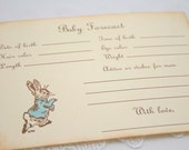 Baby Predictions Forecast Guessing Baby Shower Game Activity Cards Fill in the Blanks Vintage Peter Rabbit Set of 10