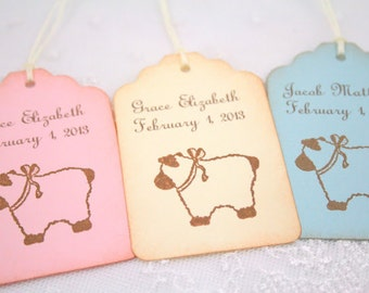 Baby Shower Lamb Tags Favor Gift Tags Boy Girl Neutral Personalized Name and Date Set of 10