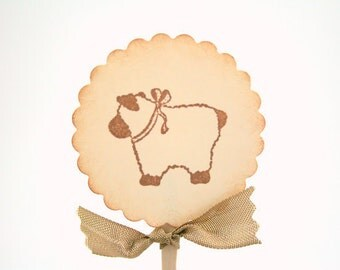 Baby  Cupcake Toppers / Food Picks Baby Shower Lamb Vintage Stamped Set of 10