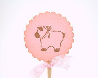 Baby Girl Shower Decor  Lamb Cupcake Toppers / Food Picks Baby Shower Set of 10