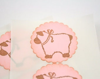 Baby Girl Lamb Stickers Baby Shower Envelope Seals Vintage Pink Set of 12