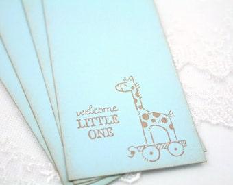Giraffe Wish Tree Tags Boy Baby Shower Wishing Tree Vintage Blue Set of 10