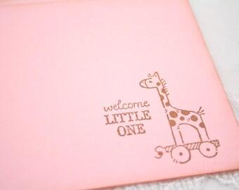 Giraffe Pink Wish Cards Baby Girl Shower Christening Stamped Vintage Set of 10
