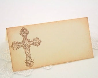 Cross Christening Baptism Place cards / Placecards First Communion Food Buffet Signs