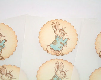 Peter Rabbit Stickers Baby Shower Birthday Envelope Seals Vintage Ivory Set of 12