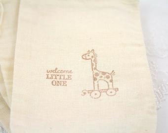 Baby Shower Favor Bags Giraffe Muslin Stamped Vintage Set of 10