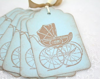 Blue Baby Carriage Tags Baby Shower Favor Tags Gift Tags
