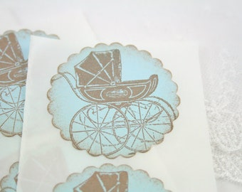 Blue Carriage Stickers Baby Shower Birthday Envelope Seals - Stamped Vintage Set of 10
