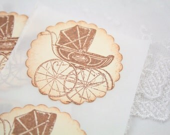 Baby Carriage Stickers Baby Shower Birthday Envelope Seals - Stamped Brown