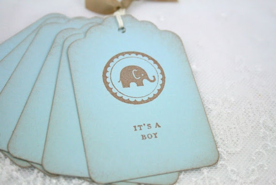 Elephant Tags It's a Boy Tags Baby Shower Favor Tags Stamped Vintage Blue