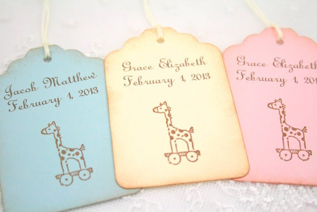 giraffe baby shower tags favor gift tags by seasonaldelightsbaby