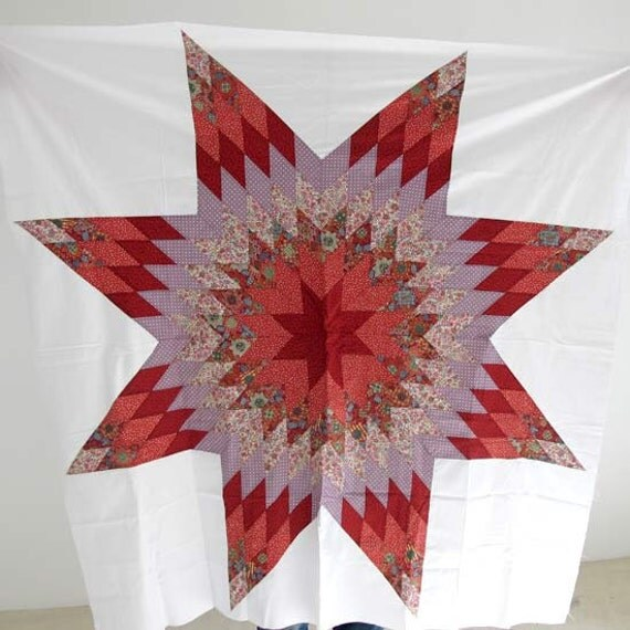 """Red & Purple Star, Beautiful star quilt top, Star patchwork, 50x50"""" Ready to ship"""