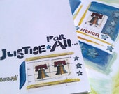 GREETING CARDS - Handmade Patriotic - Honor & Justice Set of 2