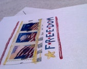 GREETING CARDS - Handmade Patriotic - Freedom & the People Set of 2