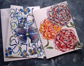 HANDMADE GREETING CARDS - Colorful Flowers - Set of 2 Hand Painted