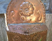Antique Folk Art Copper Spice Box