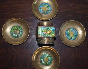 Vintage 5 Pc Chinese Enamel Ware Smoke Set