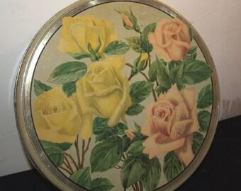 Vintage Biscuit Tin -Roses