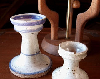 Vintage 70s Handmade Pottery Candle Holders