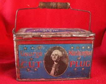 Vintage George Washington Lunch Pail Tin