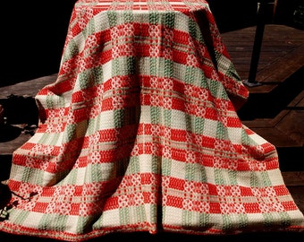 Antique 19th Century Overshot Coverlet