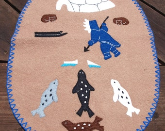 Vintage Inuit Wool Applique Wall Hanging