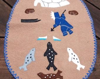 Vintage Inuit Wool Applique Wall Hanging