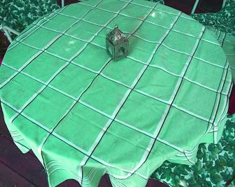 Vintage Linen Mint Green Tablecloth