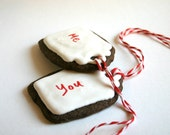 Organic Gingerbread Cookie Gift Tags with Edible Writer -1 dozen- Featured on Real Simple