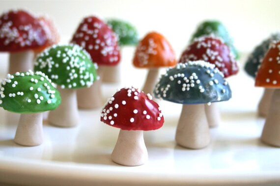 RESERVED Edible Chocolate Filled Toadstools 5 Dark Pink