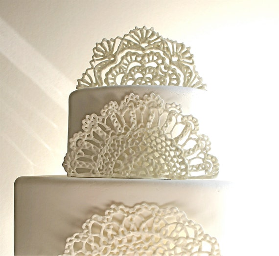 Cake Decorating Sugar Lace : Items similar to Sugar Doilies, Sugar Lace, Edible Cake ...