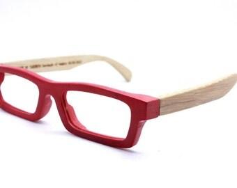 Handmade Bamboo  Love-bamboo Takemoto Red Glasses With Wood Box