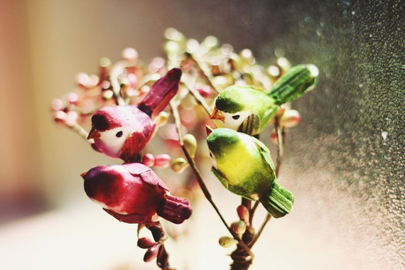love birds headband (green) // woodland collection