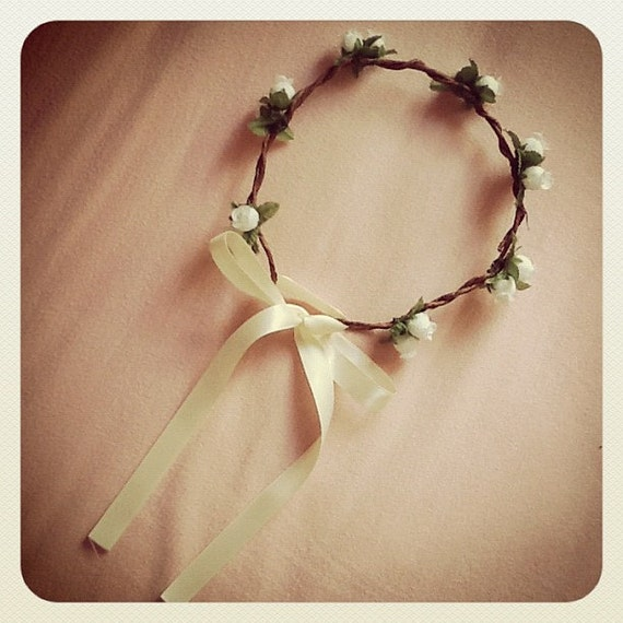 floral bloom hair wreath // white // woodland collection