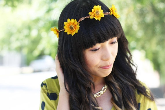 yellow sunflower hair crown // woodland collection