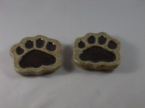 Dog Paw Magnets set of two, refrigerator magnet, dog lover, ceramic magnet, stoneware magnet, paw print