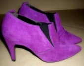 1980's PURPLE Suede Granny Boots Vintage 80's WILD PAIR Trendy Lady GAGA Ankle Dress Boots Heels