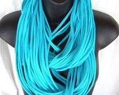Turquoise Thick Triple Wrap Jersey Lovey Scarf