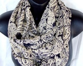Classical Poetry Chiffon Cream and Black Infinity Scarf