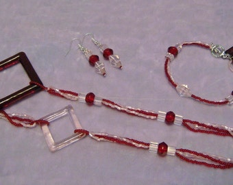 Red and Pink Earrings Jewelry Set 1401