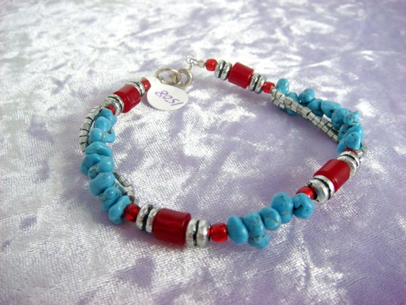 Turq Chip with Silver and Red Bracelet 1508